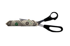 Dollar and scissors Royalty Free Stock Photography