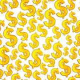 Dollar Seamless texture. Golden Dollar on white Seamless texture Royalty Free Stock Images