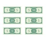 Dollar sedel av uppsättningen räkning 100 och 50 stock illustrationer