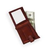 100 dollar sedel i öppen brun läderhandväska Fotografering för Bildbyråer