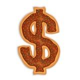 Dollar shape Doughnut. Vector illustration of dollar shape doughnut with chocolate Stock Images