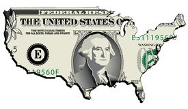 Dollar in the shape of US stock illustration
