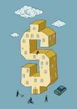 Dollar shaped building. ( illustration Royalty Free Stock Images