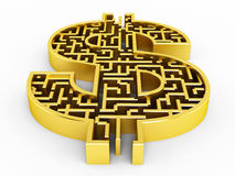 Dollar shaped maze Stock Photo