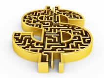Dollar shaped maze Stock Photo