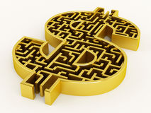 Dollar shaped maze Royalty Free Stock Images