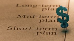 Short Term Investment Plan. Dollar shaped pushpin, pined on a timeline in front of the text short-term plan. Concept of short term investments plan Royalty Free Stock Photo