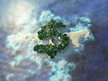 Dollar shaped tropical island. An island in the shape of a dollar, bird's-eye view. Travel 3d illustration Royalty Free Stock Photos