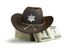 Dollar sheriff hat. On a white background Royalty Free Stock Photos