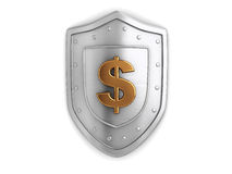 Dollar shield. 3d illustration of shield with dollar sign over white background Royalty Free Stock Images