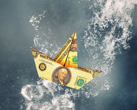 Dollar ship under water Stock Images