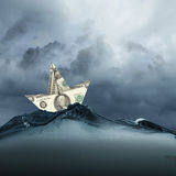 Dollar ship in water Royalty Free Stock Photos