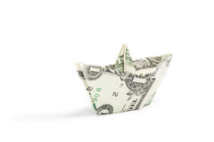 Dollar ship on white Royalty Free Stock Photos