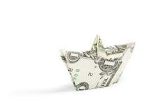 Dollar ship on white Royalty Free Stock Photos