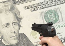 Dollar shooting Royalty Free Stock Photos