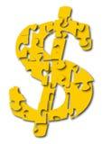Dollar sigan als Puzzlespiel stock abbildung