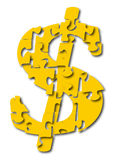 Dollar sigan as puzzle Royalty Free Stock Images