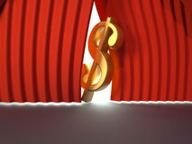 Dollar sign. Golden dollar sign on stage - 3d render Stock Image