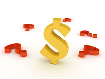 Dollar sign. In an environment of questions Stock Photography