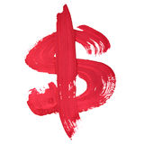 Dollar sign. Red handwritten dollar sign over white background stock photo
