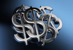 Dollar sign. Us dollar sign over a blue background Royalty Free Stock Photos