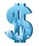 Dollar sign. With city landscape inside Royalty Free Stock Photography