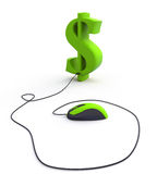 Dollar sign. And computer mouse Stock Photos