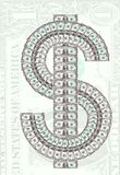 Dollar sign. Made from one dollar bills on desaturated dollar background royalty free stock photos