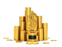 Dollar sign. Pedestal with gold coins and dollar sign Royalty Free Stock Photos