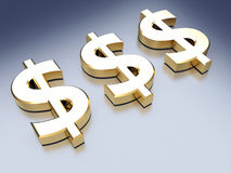 Dollar sign. Golden sign of dollar on blue reflective background. 3d render Stock Photos