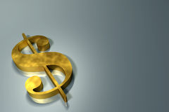 Dollar sign. A golden dollar sign on a plain background Stock Photography
