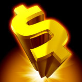 Dollar Sign 3D Render Isolated Royalty Free Stock Photo