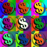 Dollar sign. Nine dollar signs in a pop art style arrangement Royalty Free Stock Images