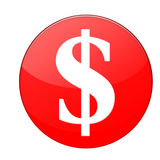 Dollar sign. Red dollar sign for currency or pricing stock images