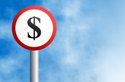 Dollar sign. Round concept street sign with a dollar symbol Stock Photo