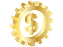 Dollar sign. Inside of gear isolated object Stock Photo