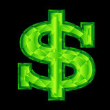 Dollar sign. Green dollar sign on black background Stock Photos