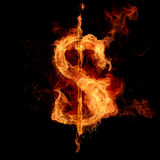 Dollar sign. Fire dollar sign isolated on black Stock Photo