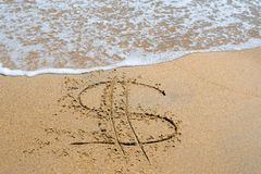 Dollar sign. In the sand royalty free stock images