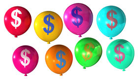 Dollar sign. On colorful balloons Royalty Free Stock Photos