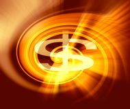 Dollar sign with abstract background. Of magic burst with rays of light Royalty Free Stock Image