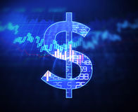 Dollar sign on abstract financial technology background . Royalty Free Stock Image