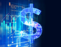 Dollar sign on abstract financial technology background . Stock Image