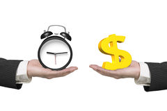 Dollar sign and alarm clock with two hands Royalty Free Stock Photography