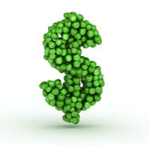 Dollar sign , alphabet of green apples Royalty Free Stock Images