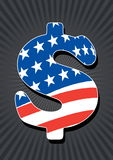 Dollar sign with american flag. On grey background Stock Photos