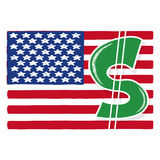 Dollar sign with American flag illustration Stock Photos