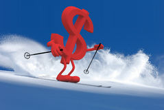 Dollar sign with arms and legs that is skiing Royalty Free Stock Photos