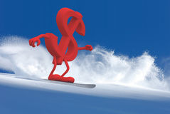 Dollar sign with arms and legs that is snowboarding Royalty Free Stock Photography