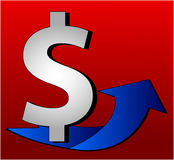 Dollar Sign with arrow. Illustration of a Dollar Sign with arrow Royalty Free Stock Photo
